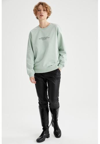 DeFacto green Round Neck Cotton Sweatshirt 46BBFAAAAEEFBEGS_1