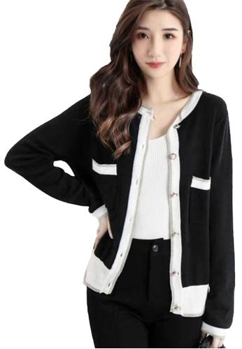 Sunnydaysweety black Contrast Detail Knit  Cardigan CA112808BK 2F668AAEA5EC17GS_1