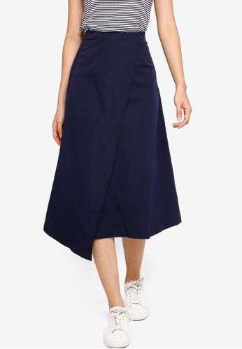ZALORA BASICS navy High Waist Wrap Skirt C15E9AADF89DD7GS_1