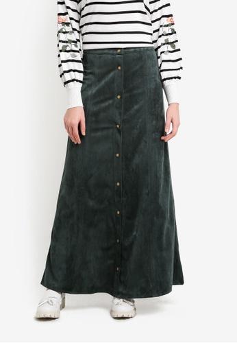 Zalia green Faux Suede Button Down Skirt 669E2AA4D82162GS_1