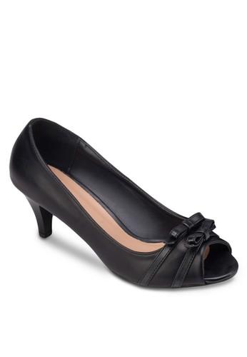 esprit outlet hk雙蝴蝶結露趾高跟鞋, 女鞋, 魚口鞋