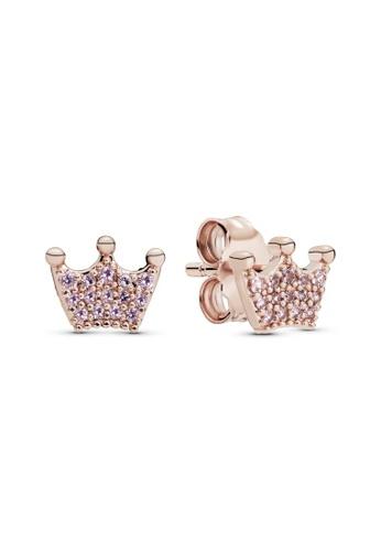 PANDORA silver Pandora Pink Crown Stud Earrings 990E7AC16D1D06GS_1