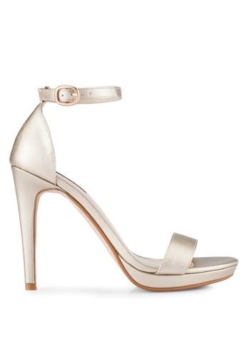 ZALORA gold Ankle Strap Heels 6B02BSH12E9563GS_1