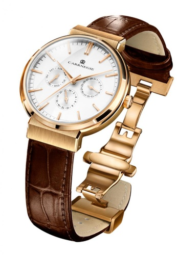 Carrnegie Watches white and multi and gold Carrnegie Watches Premier Rose Gold White 66B2AACE04F954GS_1