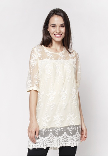 NE Double S yellow Round Neckline Short Sleeve With Lace Hem Detail Blouse 995B4AA8C62AF6GS_1