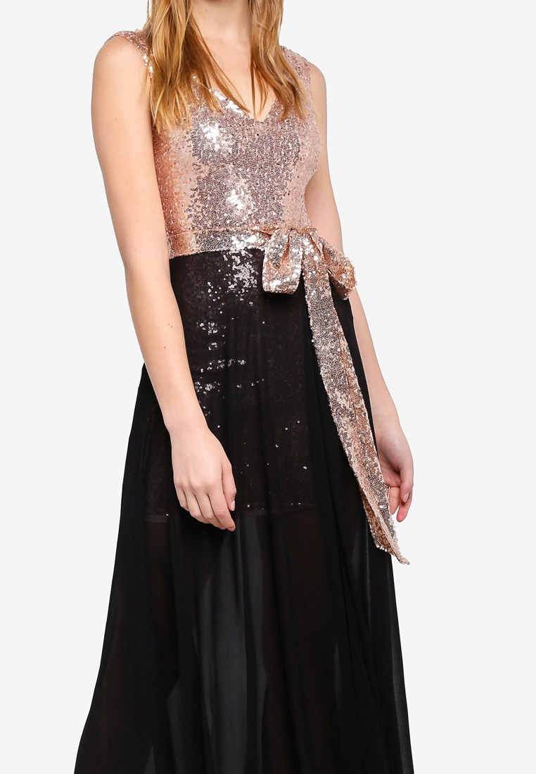 Chiffon And 2 1 Dress Goddiva Sequin Black In OqgTCgw6