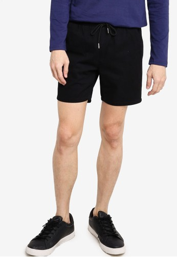 ZALORA BASICS black Twill Elastic Waist Shorts 10E85AA5A5C169GS_1