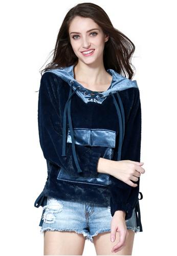 London Rag blue Fur Hoodie With Kangaroo Pockets AA78EAA0D3EE67GS_1