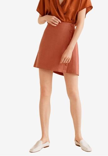 Mango orange Button Linen Skirt 81728AAB5F3400GS_1