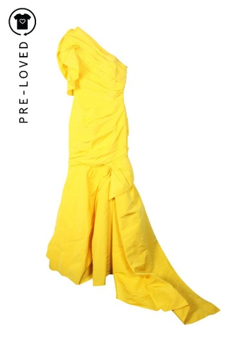 Monique Lhuillier yellow Pre-Loved monique lhuillier Drape Gala Dress 88ACCAA3B6A9F6GS_1