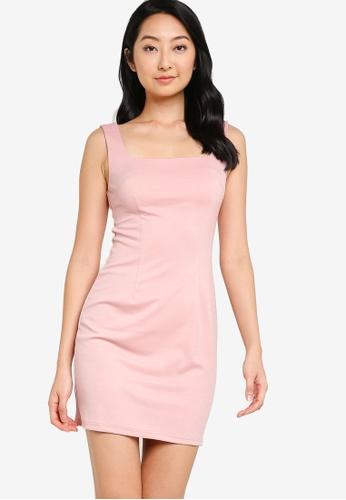 ZALORA BASICS pink Square Neck Bodycon Dress C7625AA33C9BB4GS_1