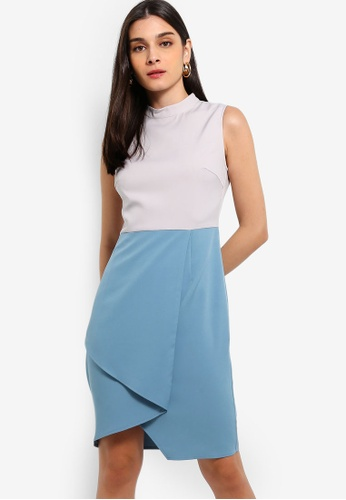 ZALORA 灰色 and 藍色 Colourblock High Neck Dress 7C3F1AA5E49D1FGS_1