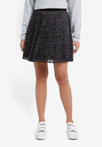 Jack Wills black Nara Ditsy Pleated Skirt 52531AA7396A54GS_1