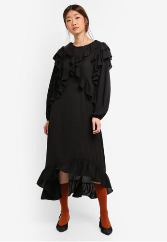 Stylenanda black Ruffle Dress AF30BAA7544C84GS_1
