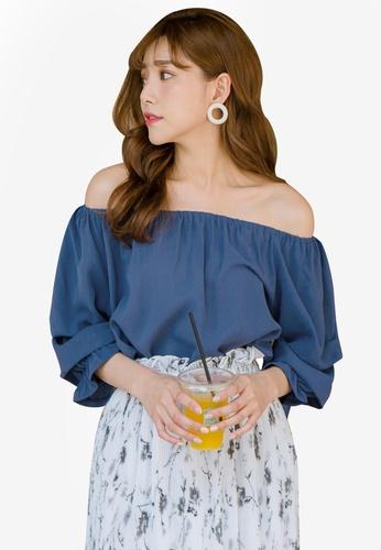 Tokichoi blue Bardot Ruffled Top 0FE1FAAFD0E678GS_1