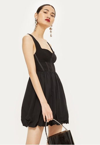 TOPSHOP black Corset Puffball Mini Dress E1434AAD5028BFGS_1