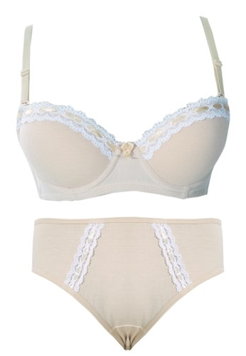 Cynthia beige Cynthia-Pastel Bra With Matching Panty-Beige CY646US55SOUID_1