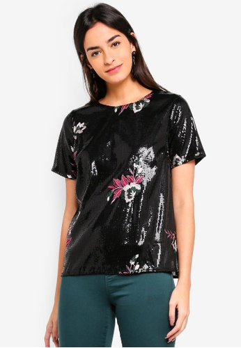 Dorothy Perkins black Embroidered Sequin Top 790F7AA0F460C9GS_1