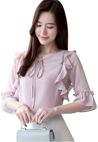 Halo pink Flared Sleeves Blouse C3716AAA5019A2GS_1