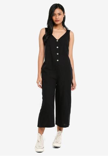 TOPSHOP black Button Slouch Jumpsuit 68177AACBFCE08GS_1