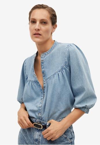 Mango blue Puffed Sleeves Denim Shirt CF396AA567A5ACGS_1