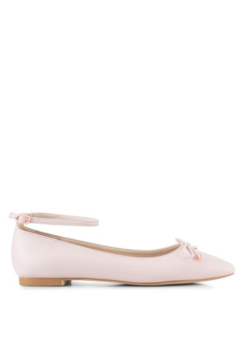 Velvet 米褐色 Ankle Strap Ballet Flats AE207SHF71C7B2GS_1