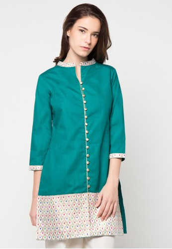 CHANIRA FESTIVE COLLECTION green Ragna Short Tunic CH354AA85BHQID_1