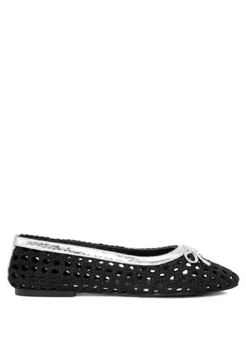 RAG & CO black Brionna Cotton Mesh Flat Ballerinas RCSH05 93078SH67FBA7DGS_1