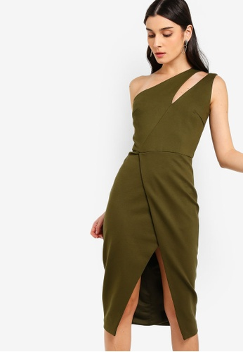 Lavish Alice green Cutout Neck Wrap Midi Dress E1953AABDD8B01GS_1