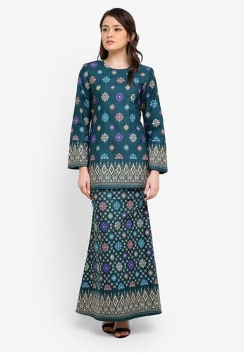 Butik Sireh Pinang green Aiinia Cotton Short Modern Kurung with Songket Print BU003AA0S26HMY_1