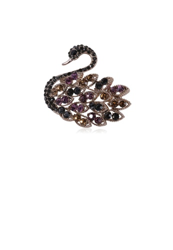 Glamorousky silver Fashion and Elegant Plated Gold Color Swan Brooch with Cubic Zirconia 693BCAC150D838GS_1