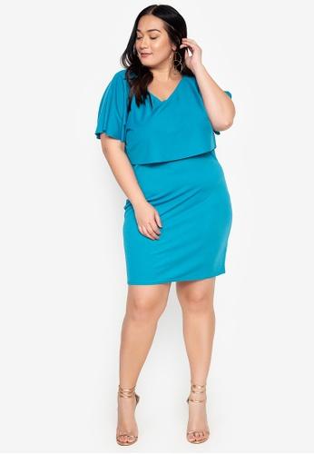 Curvy green Plus Size Cape Sleeves Plain Sheath Dress 86C22AA46D1EC6GS_1