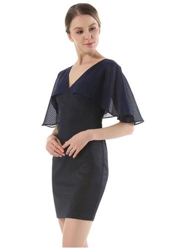 Sunnydaysweety blue New Blue V Neck Flare Sleeve One Piece Dress UA112304BL SU219AA0GRFBSG_1