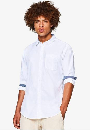 ESPRIT 白色 質感長袖襯衫 3EC28AA5309965GS_1