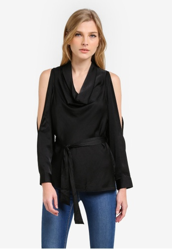 WAREHOUSE black Satin Cowl Neck Top WA653AA0S23KMY_1