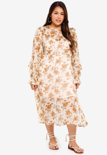 ELVI beige Plus Size Ada Ditsy Printed Tea Dress 65FC1AADC37262GS_1
