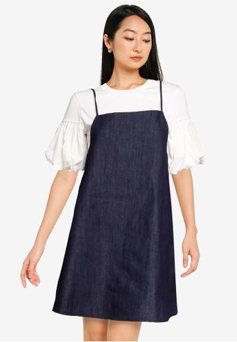 URBAN REVIVO blue Denim Dress With Suspenders FF002AA40ACF25GS_1