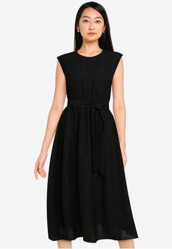 ZALORA BASICS black Open Back Midi Dress DBA51AA9C2C46AGS_1