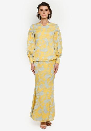 Zalia yellow and blue Floral Texture Puff Sleeve Kurung 286ECAACD1DF20GS_1