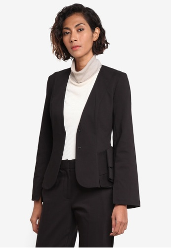 TOPSHOP black Peplum Fitted Jacket TO412AA0ROV1MY_1