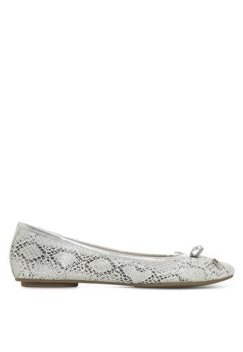 Dune London 灰色 蝴蝶結蛇紋平底鞋 9F813SH48CBAA7GS_1
