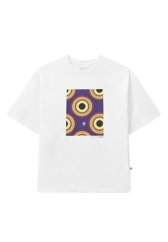 FILA white Japan Collection Unisex Totem Printed Dropped Shoulders Cotton T-shirt 4E777AA62E2BA3GS_1