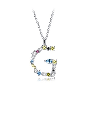 Glamorousky silver 925 Sterling Silver Fashion Simple Color English Alphabet G Pendant with Cubic Zirconia and Necklace AAA08AC0EB4CFDGS_1