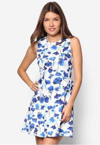 花卉腰飾傘狀洋裝, 服飾, 服zalora 衣服評價飾