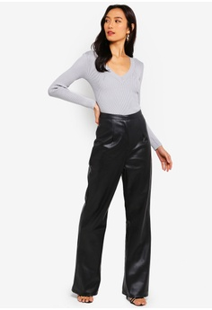 787702b75c0128 38% OFF MISSGUIDED Faux Leather Wide Leg Trousers RM 179.00 NOW RM 110.90  Sizes 6 8 10 12 14