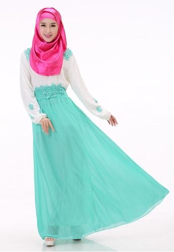 SMROCCO green Muslimah Green Flora Jubah Dress MW6010-GRE SM066AA33NHAMY 1 8228804759