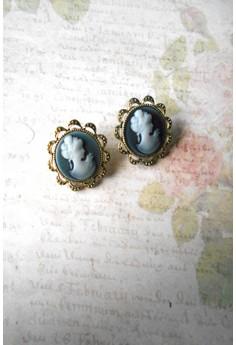 Floral Cameo Stud Earrings (Black)