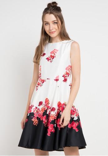 EDITION red and multi Floral Bordeer Dress 426BEAAE1394EFGS_1