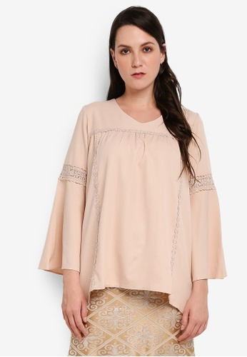 BYN beige Lace Long Sleeve Top 519ADAA26EB804GS_1