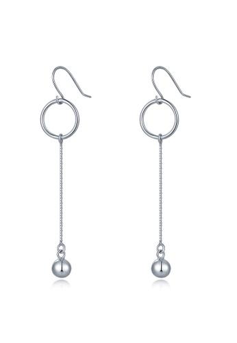 MBLife silver 925 Sterling Silver Circle Long Chain Drop Ball Hook Earrings 23CFFAC1B3C55DGS_1